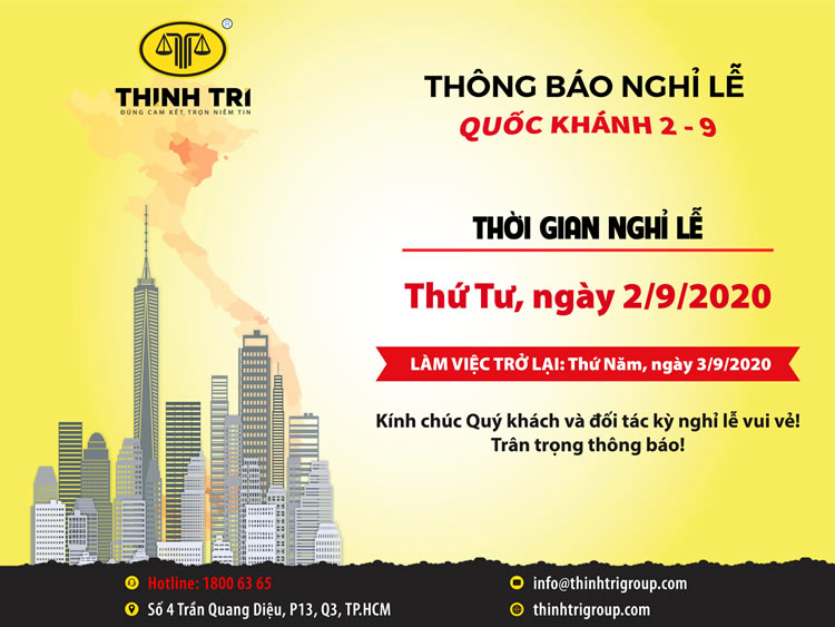 THINH TRI LAW SYSTEM NOTICE OF NATIONAL HOLIDAY HOLIDAYS 2-9