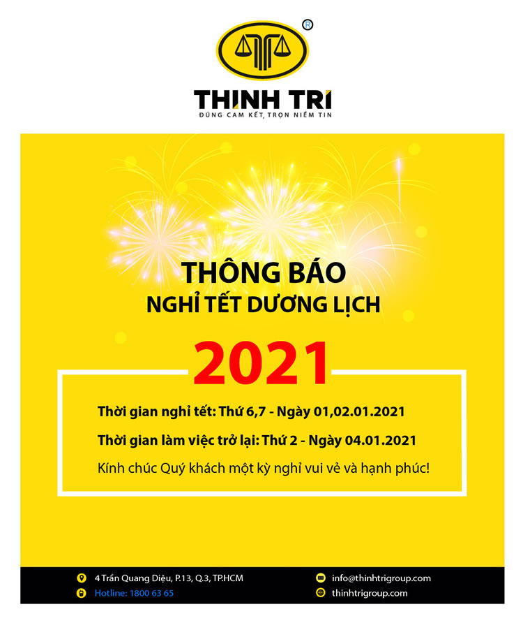 THINH TRI LAW SYSTEM NOTIFICATION OF TET HOLIDAY HOLIDAYS 2021