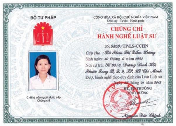 Chứng chỉ hành nghề Phan Thị Diểm Hương
