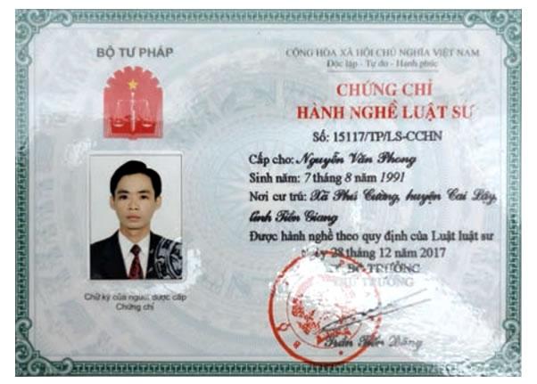 Chứng chỉ hành nghề Nguyễn Văn Phong